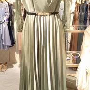 袖レースプリーツドレス